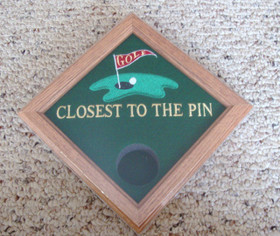 "This ""Closest to the Pin"" award display box will showcase your tournament ball in a fantastic setting.  Commemorate your tournament logo or sponsors and the players achievement in one award."