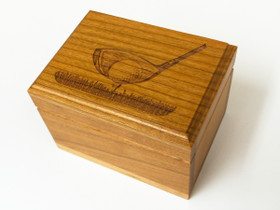 This Custom Business card box is engraved with a golf club about to hit a ball.  This is a great gift for the golfing businessman.
