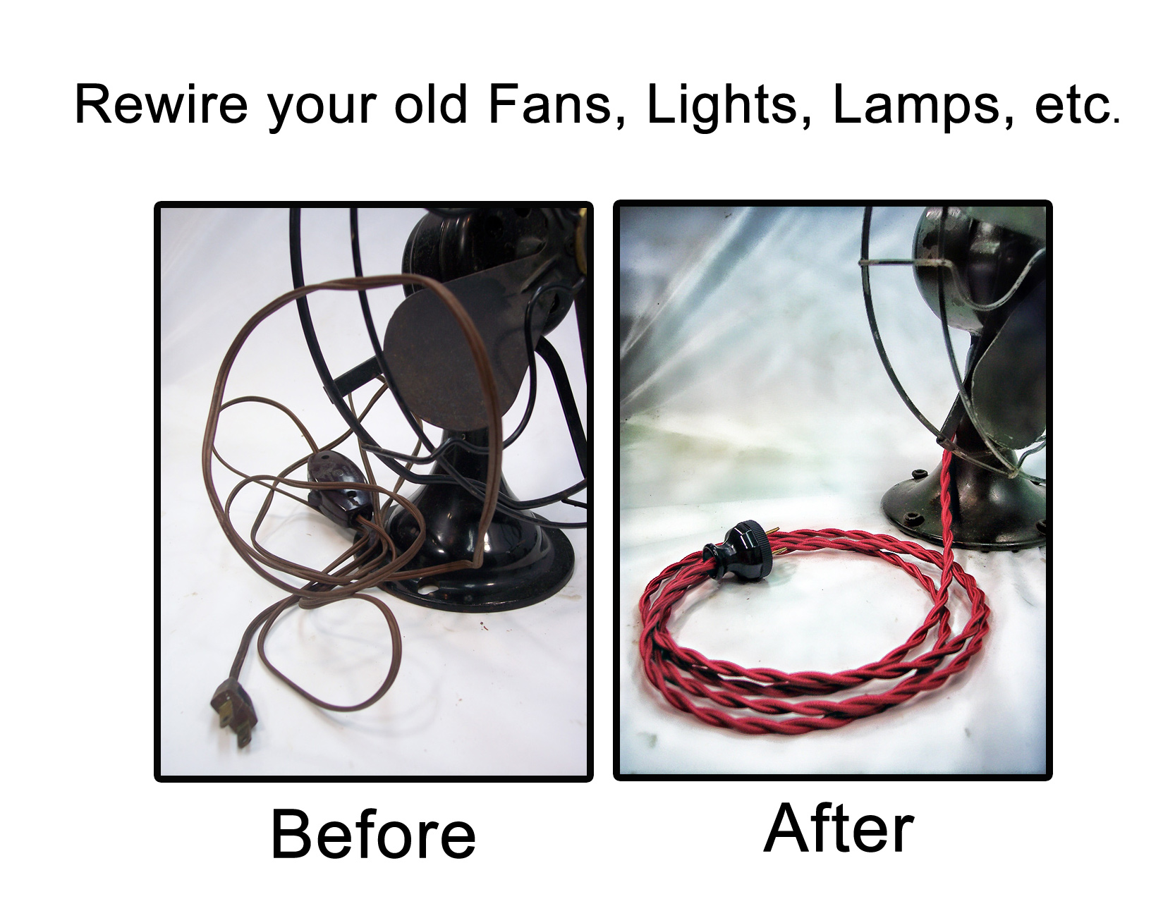 cloth covered rewire kits for lamp fan restorations rh vintagewireandsupply com rewiring old table lamps Lamp Rewiring Kit Lowe's