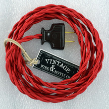 Cloth covered wire from vintage wire and supply with antique style plug red lamp cord keyboard keysfo Gallery