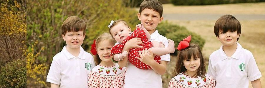 Coordinating clothes, monogrammed boys polo shirt, smocked strawberry themed dress and bubble. Ships 3 days
