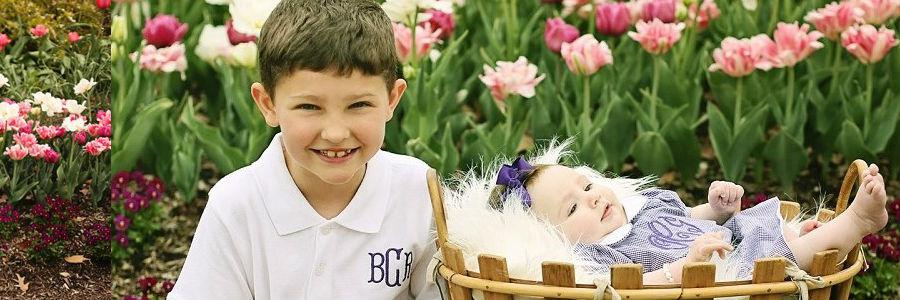 Siblings wearing coordinating outfits, monogrammed purple gingham dress and boys monogrammed polo. Ships in 3 days