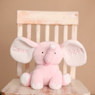 Our pink elephant can have the ears monogrammed with a name and birth date. Sweet baby gift!