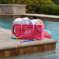 Monogrammed pink extra large ultimate carry all tote is great to carry pool and beach supplies.