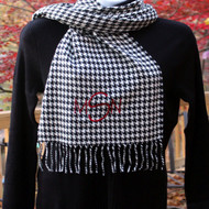 University of Alabama houndstooth scarf with monogrammed initials in the designer new font and crimson thread.
