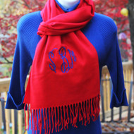 Ole Miss red scarf monogrammed initials in blue thread and the monogram script font.