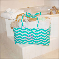 Monogrammed aqua chevron ultimate carry-all tote bag is a perfect gift for bridesmaids! Ships in 3 days!