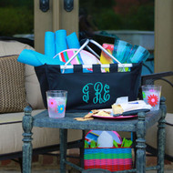 Black monogrammed large market tote looks great personalized with any color thread and initials or name!