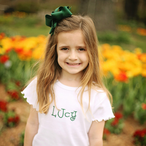 Hunter green Lucy extra large 4 x 6 hair bow.