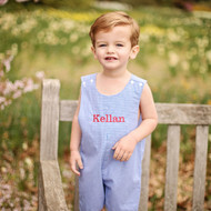 Blue monogrammed shortall-jon jon can be worn year round with or without a shirt.