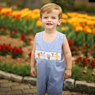 Boys smocked zoo animals shortall jon jon on blue gingham fabric with adjustable buttons.