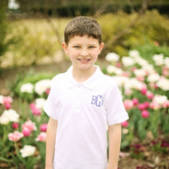 Monogrammed Boy's Short Sleeve Polo Shirt with Purple Thread.
