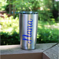 Nana 4 inch decal going up and down on a stainless steel cup.