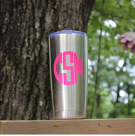 Yeti knock off tumbler with a hot pink monogram decal.