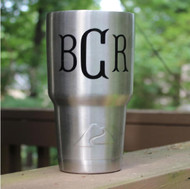 Large 30 oz stainless cup with a monogram decal.