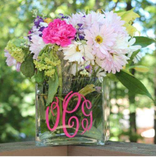 Decal for a medium monogram vase monogrammed flower vase with hot pink initials mightylinksfo