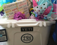 Monogram decal on a Yeti cooler.