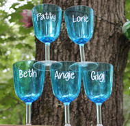 Group of plastic wine glasses with decals.