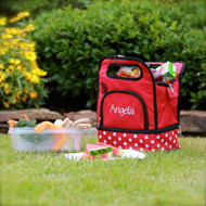 Red lunch box-cooler-bag monogrammed in the designer new font and white thread.