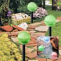 2-Pack GREEN Hanging/Landscape Solar Ball Lights