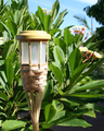 2-Pack Outdoor Garden Bamboo Tiki Torch Solar Landscape Light
