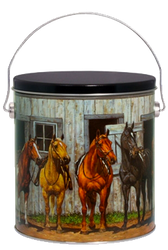 1 Gallon Horses Popcorn Tin