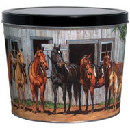 2 Gallon Horses Popcorn Tin