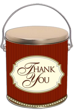"Choose our ""Thank You"" popcorn tin for sending a special wish."