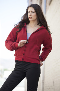 GOGO GEAR RED ARMORED KEVLAR HOODIE JACKET