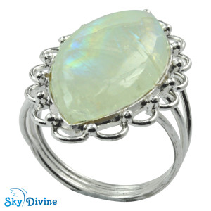 925 Sterling Silver Rainbow moon Stone Ring SDR2107 SkyDivine Jewelry RingSize 8 US