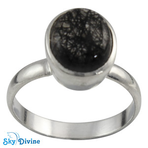 925 Sterling Silver Black Rutile Ring SDR2125 SkyDivine Jewelry RingSize 9 US