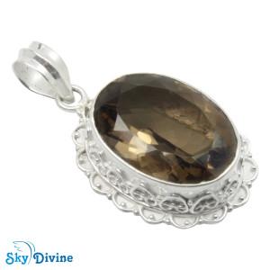 Sterling Silver smoky topaz Pendant SDPN2116 SkyDivine Jewelry