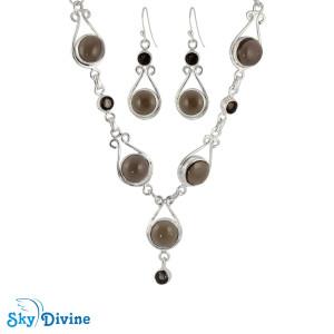 Sterling Silver Smoky Quartz Set SDAST01 SkyDivine Jewelry