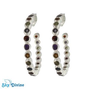 Sterling Silver Multi Stones Earring SDAER26a SkyDivine Jewellery