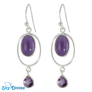 Sterling Silver amethyst Earring SDER2125 SkyDivine Jewelry