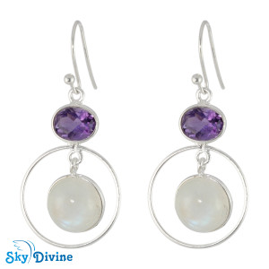 925 Sterling Silver amethyst Earring SDER2126 SkyDivine Jewellery