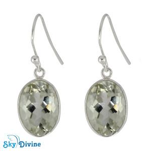 925 Sterling Silver Green Amethyst Earring SDER2159 SkyDivine Jewellery