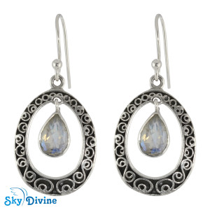 Sterling Silver Rainbow moon Stone Earring SDER2168 SkyDivine Jewelry