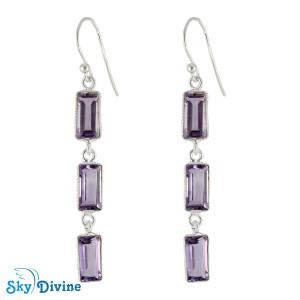 925 Sterling Silver amethyst Earring SDER2189 SkyDivine Jewellery