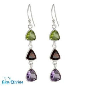 Sterling Silver Multi Stones Earring SDER2192 SkyDivine Jewellery