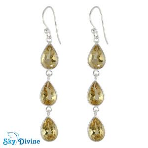 925 Sterling Silver Citrine Earring SDER2195 SkyDivine Jewellery