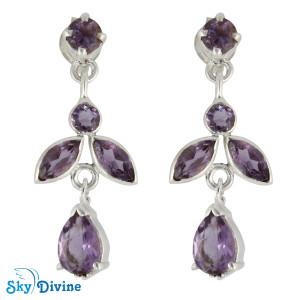 925 Sterling Silver amethyst Earring SDAER19a SkyDivine Jewellery