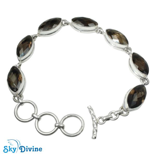 Sterling Silver Smoky Quartz Bracelet SDABR05 SkyDivine Jewellery