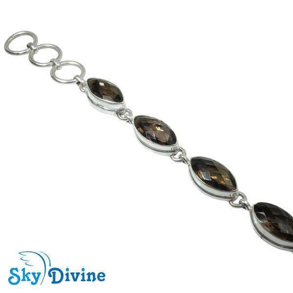 Sterling Silver Smoky Quartz Bracelet SDABR05 SkyDivine Jewellery Image2