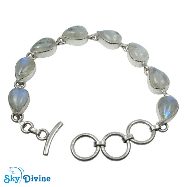 Sterling Silver Rainbow moon Stone Bracelet SDABR09 SkyDivine Jewellery