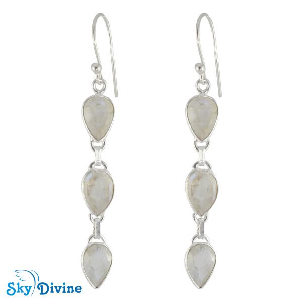 925 Sterling Silver Rainbow moon Stone Earring SDER2174 SkyDivine Jewellery
