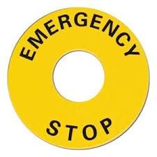 Emergency Stop Legend to fit standard 31mm Button