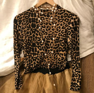 Leopard Long Sleeve Top - Size Small
