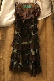 Tiered camo and ruffle maxi skirt