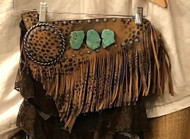 Leopard and turquoise fringe waist belt